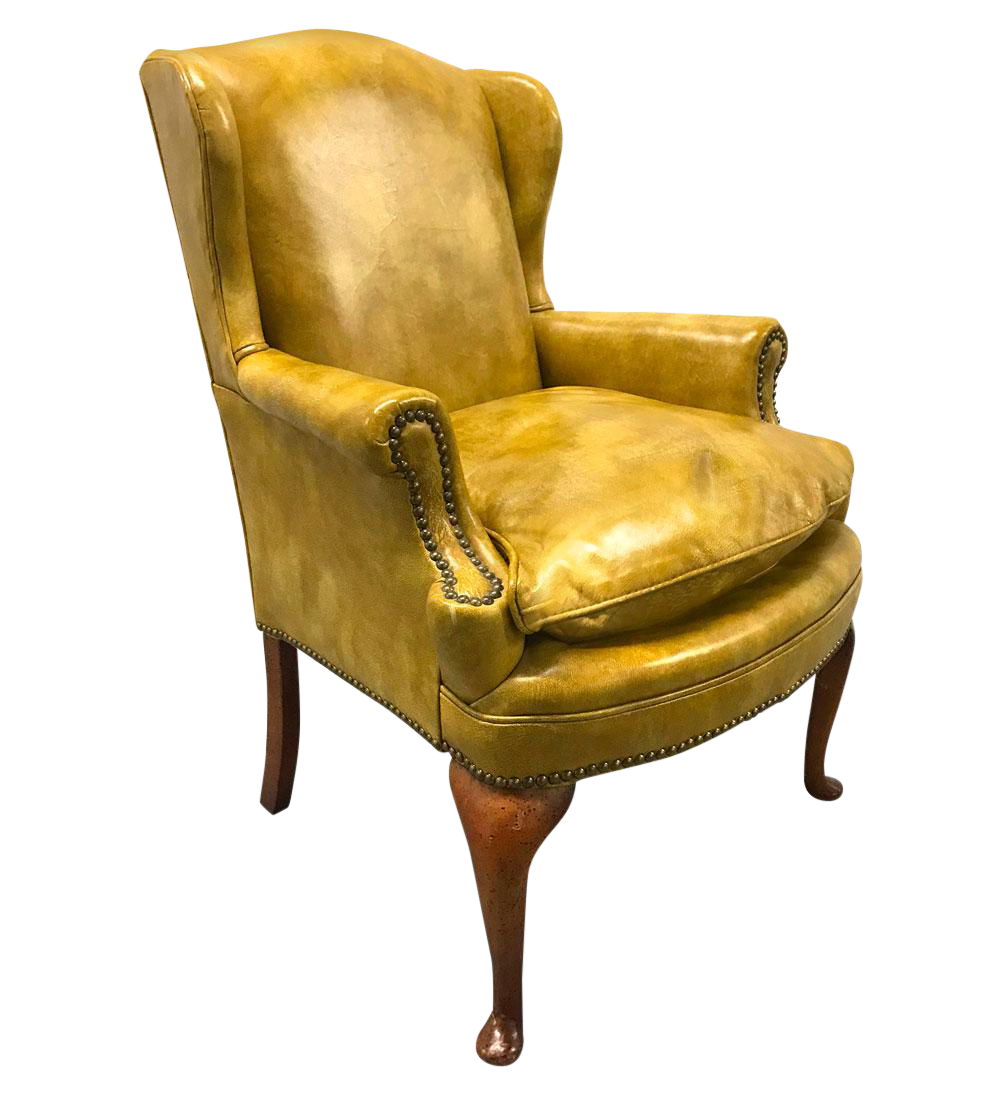 1970s Brilliant Yellow Leather Wingback Chair