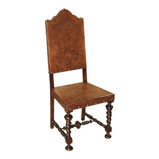 Antique Engraved Leather Side Chair From Portugal, 19th Century For Sale