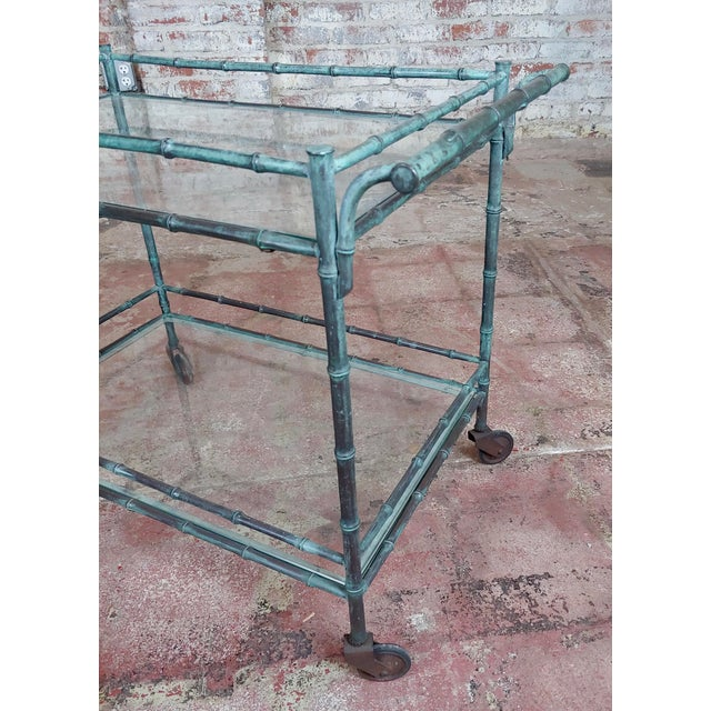 1930s Vintage Faux Bamboo Patinated Bronze Serving Bar Cart For Sale - Image 10 of 11