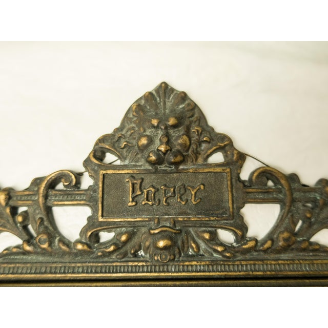 French Italian Art Nouveau Bronze Letter Holder For Sale - Image 3 of 7