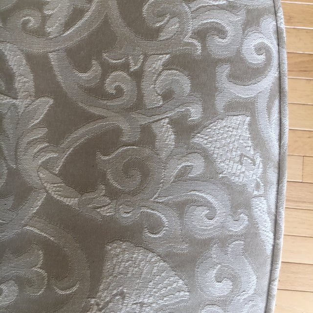 Wood Greige Damask Queen Anne Wingback Chairs - a Set For Sale - Image 7 of 11