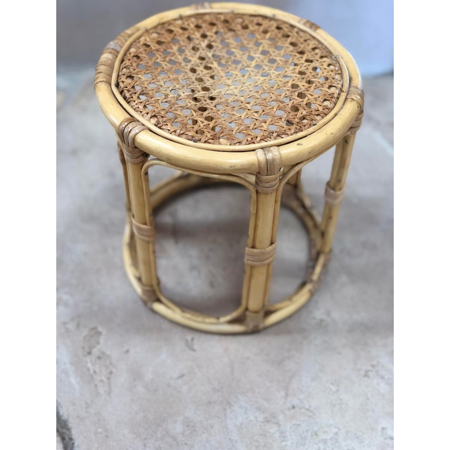 Boho Chic Vintage Bamboo Plant Stand For Sale - Image 3 of 8