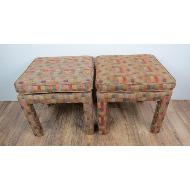 Wood 1980s Vintage Multicolor Parsons Stools - a Pair For Sale - Image 7 of 13