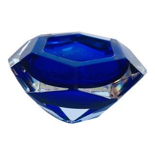 Gorgeous Blue Diamante Alessandro Mandruzzato Murano Dish For Sale