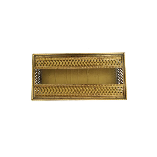Vintage Gold Brass Hollywood Regency Filigree Tissue Box Holder Cover - Image 3 of 4