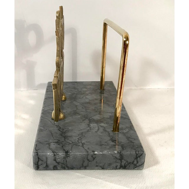"Contemporary Mid-Century ""Do It Now"" Brass & Marble Letter Holder For Sale - Image 3 of 7"
