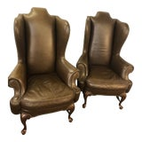 Image of Vintage Drexel Heritage Lillian August Collection Leather Wingback Chairs - Pair For Sale