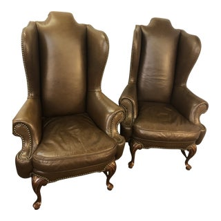 Vintage Drexel Heritage Lillian August Collection Leather Wingback Chairs - Pair For Sale