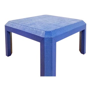 "Custom Raffia Wrapped Coffee Table Painted in Sherwin Williams ""Commodore Blue"""