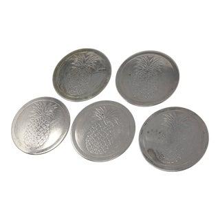 Vintage Silver Metal Engraved Pineapple Coasters - Set of 5 For Sale