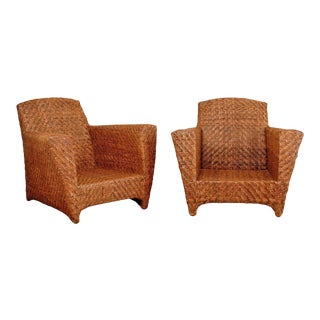 Handsome Pair of Vintage Rattan Club Chairs For Sale