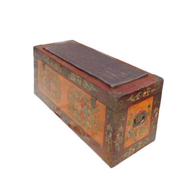 Floral Orange Brown Wood Trunk Bench Ottoman - Image 4 of 6