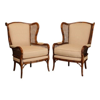 Ethan Allen Faux Bamboo Cane Side Wing Chairs - a Pair For Sale