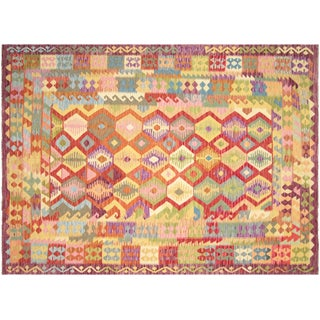 "Nalbandian - Contemporary Afghan Maimana Kilim - 6'10"" X 9'6"" For Sale"