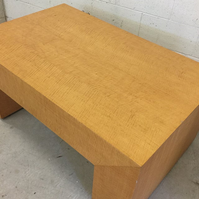 1980s Large Light Wood Rectangular Coffee Table For Sale - Image 5 of 11
