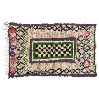 1980s Vintage Berber Tribes of Morocco Boucherouite Rug - 3′6″ × 5′9″ For Sale