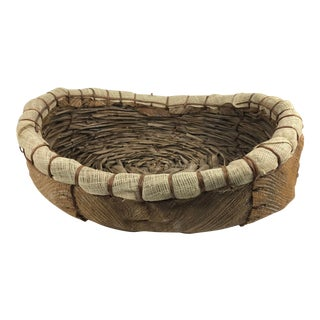 1970s Primitive Handmade Palm Bark Basket For Sale