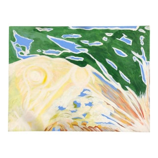 1980s Abstract Green and Blue Painting For Sale