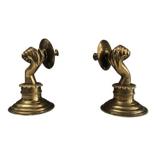Vintage Victorian Brass Lady Hands Sconces - a Pair