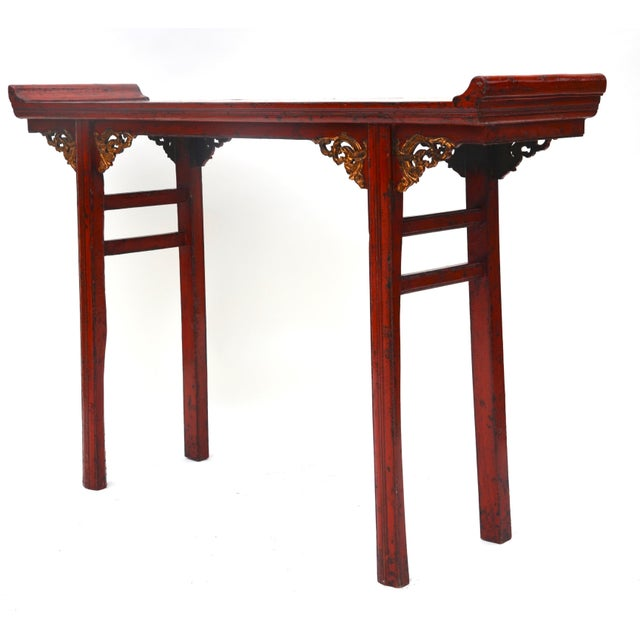 19th C Chinese Red Lacquered Altar Table With Gold Detail For Sale - Image 4 of 7