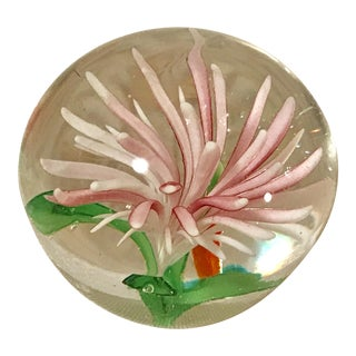Vintage Art Glass Floral Paper Weight