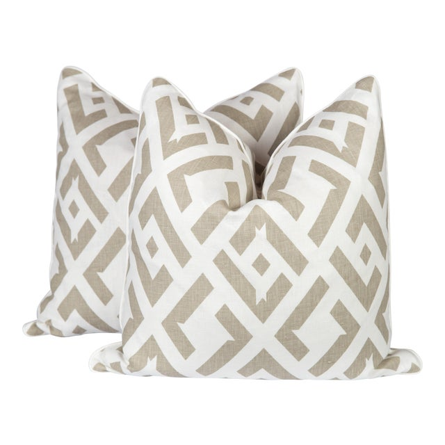 Dune China Club Linen Pillows - A Pair For Sale