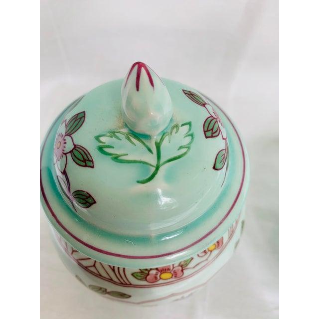 Mid 20th Century Mid 20th Century Adams Calyx Ware Singapore Bird Pattern Jar & Bowl - Set of 2 For Sale - Image 5 of 6