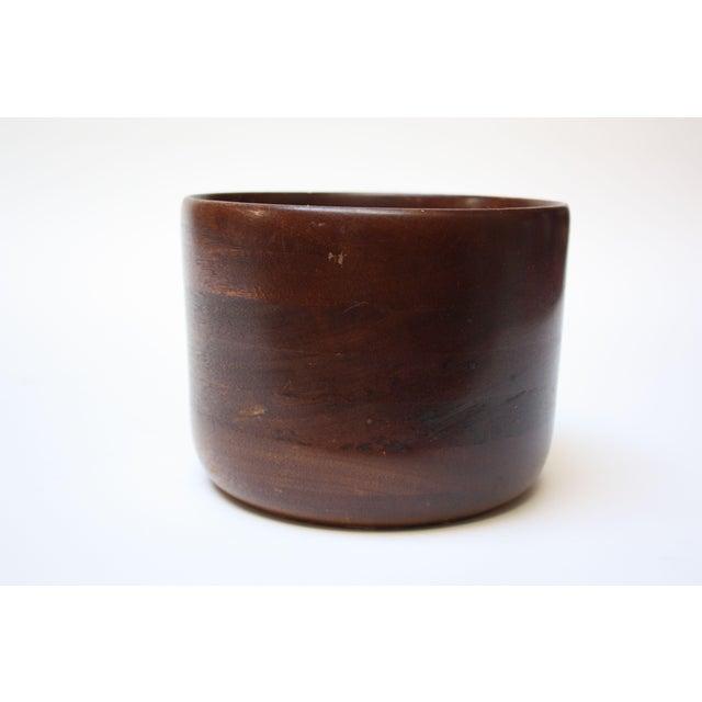Brown Mid Century Modern Turned Teak Bowl For Sale - Image 8 of 8