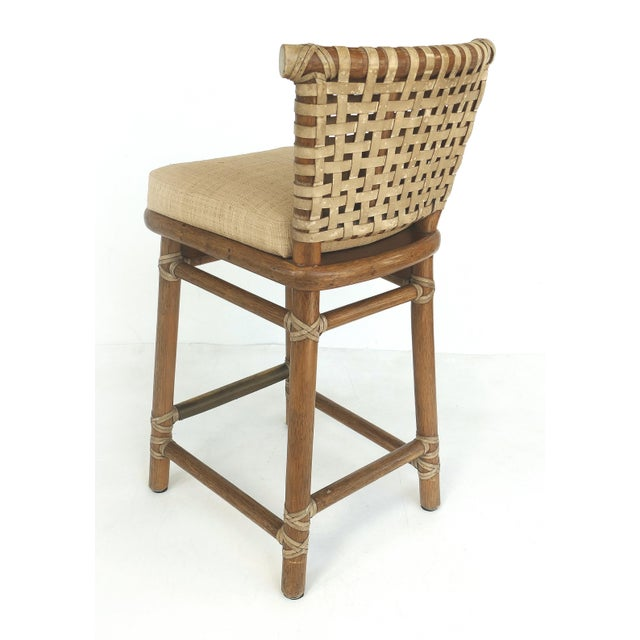 1990s McGuire San Francisco Leather Bound Counter Stools W/ Raffia Seats - A Pair For Sale - Image 5 of 13
