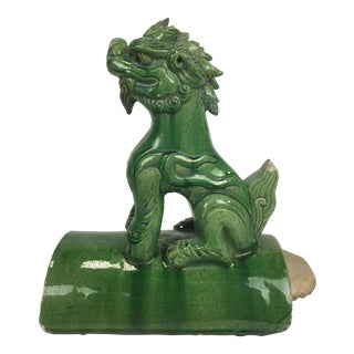 1790s Vintage Chinese Sancal Glazed Terracotta Foo Dog Roof Tile For Sale