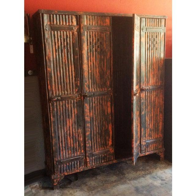 1930's French Vintage Industrial 4 Door Locker - Image 5 of 11