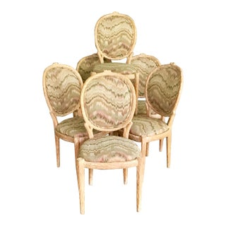 Vintage Louis XVI Faux Bois Side Chairs- Set of 6 For Sale