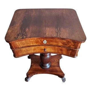 Early 19th Century American Classical Mahogany Sewing Stand Work Table For Sale