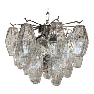 "Chandelier Italian ""Poliedro"" Transparent Chrome Metal Frame Murano Glass For Sale"