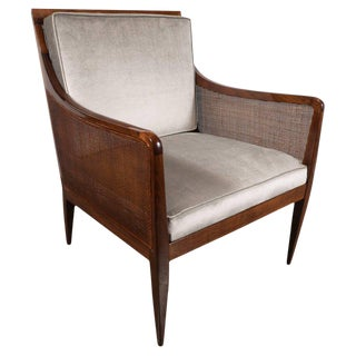 Mid-Century Modern Walnut and Cane Club Chair in Smoked Platinum Velvet For Sale