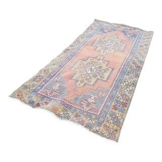 Foyer Sized Distressed Turkish Oushak Rug, Mid Century Modern Bohemian Decor Handmade Carpet, Pale Geometric Oriental Rugs, 4'1'' X 8'6'' For Sale