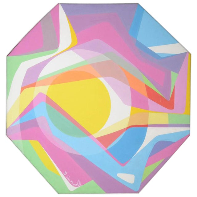 1970s Octagonal Abstract Oil on Canvas - Image 1 of 7