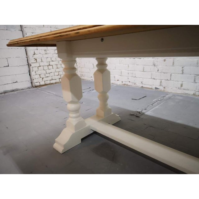 White Vintage Restored Like New French Farmhouse Trestle Dining Table Boho Chic For Sale - Image 8 of 11