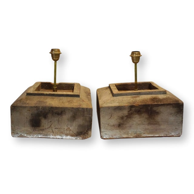 Antique Solid Hewn Wood Block Lamps-Pair For Sale - Image 13 of 13