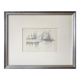"Antique English Graphite Landscape Drawing ""Abbey Mill"" 1904 For Sale"