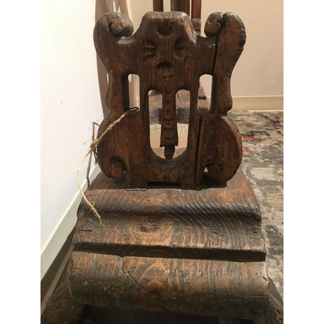 Brown Antique Pine Spinning Wheel For Sale - Image 8 of 13