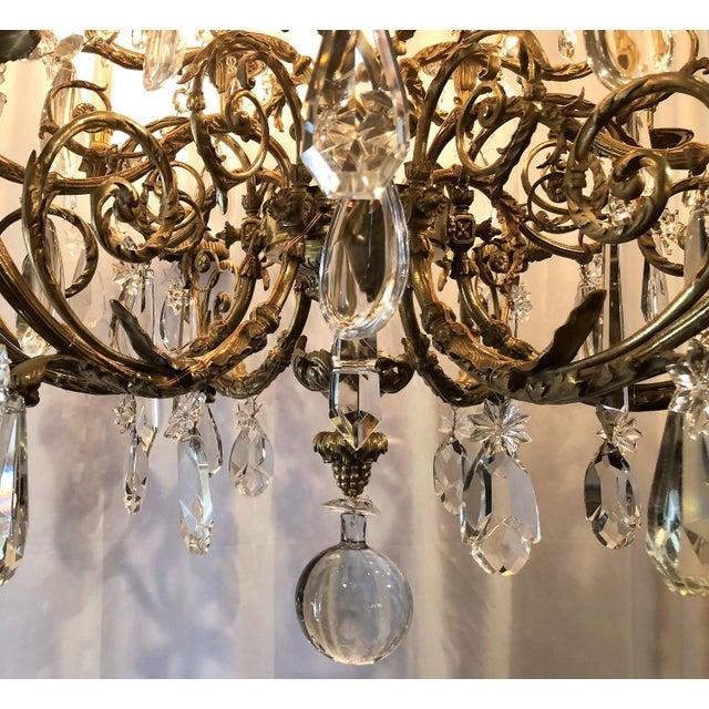Antique Napoleon III Fine Crystal and Ormolu 18 Light Chandelier. For Sale - Image 4 of 5