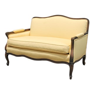 Mid Century Carved Walnut Frame & Sunny Yellow Upholstered Canape/ Settee