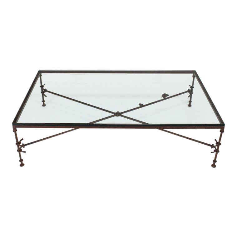 Large Rectangle Oversize Forged Metal Iron Base Glass Top Coffee