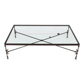 Large Rectangle Oversize Forged Metal Iron Base Glass Top Coffee Table For Sale