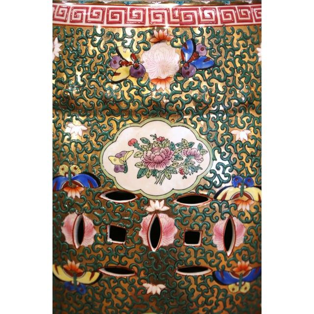 Mid-Century Chinese Porcelain Garden Stool With Bird and Floral Decor For Sale - Image 10 of 13