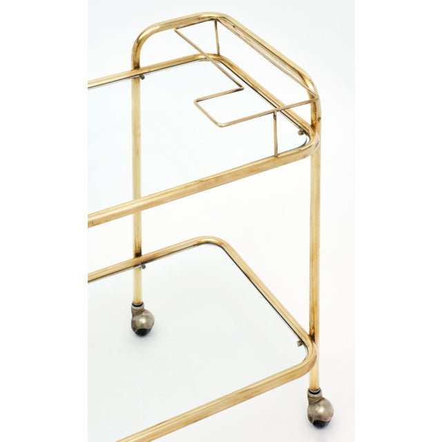 French Mid-Century Brass and Glass Bar Cart For Sale - Image 3 of 10