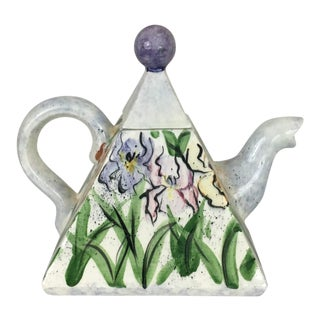 Handpainted Ceramic Teapot With Iris Design For Sale