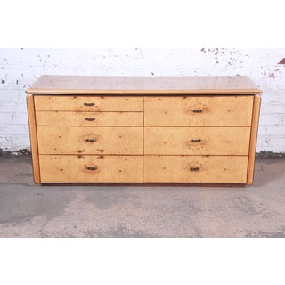 Milo Baughman Style Burl Wood Long Dresser or Credenza by Lane Preview