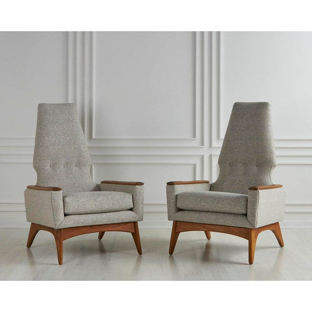 Mid-Century Modern A Pair of Highback Lounge Chairs, 1960s For Sale - Image 3 of 10